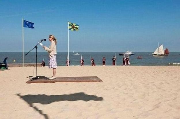 flying beach lady